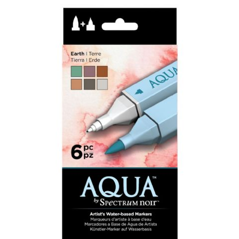 Spectrum Noir Aqua Markers 6pk - Earth
